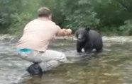 Dingue : cet homme va donner à manger à la main à un ours sauvage !