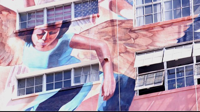 'Angelus': Gigantic mural depicting LA history taking shape