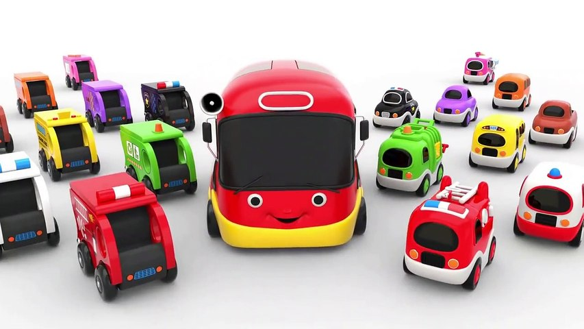 Learn Colors with Little Bus Transporter Street Vehicles Toys - Toy cars for KIDS