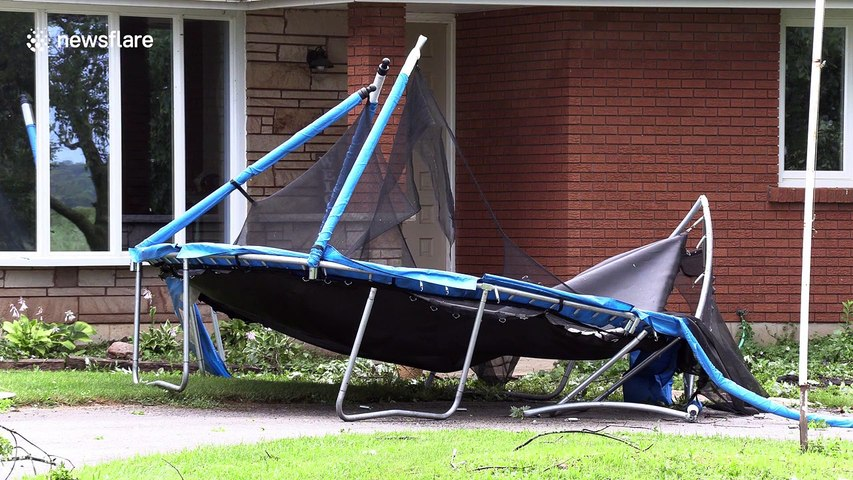 Severe storm damage in Caledonia, Ontario, amid a heatwave