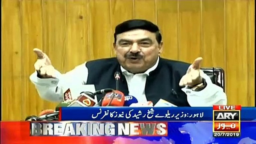 Minister for railways Sheikh Rasheed Ahmed addresses media
