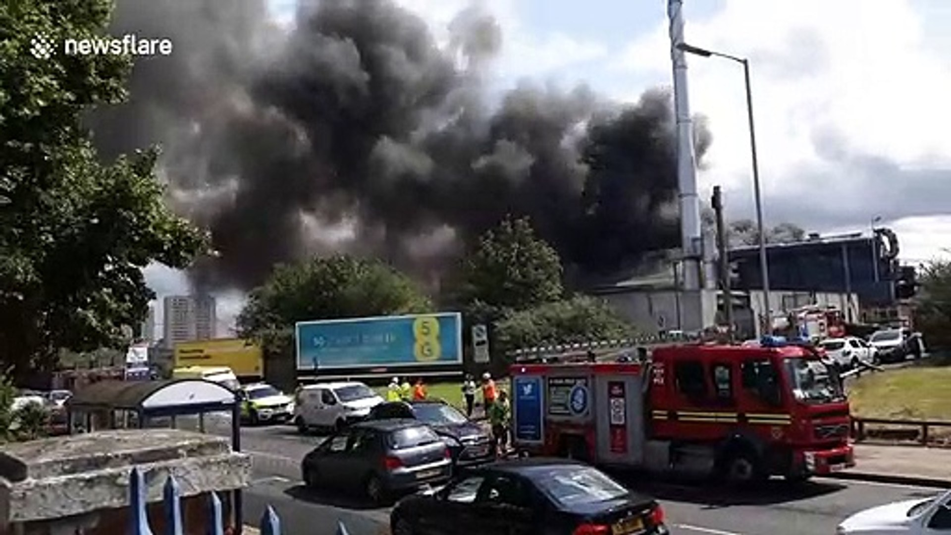 Fire opposite Dudley Road hospital sends black smoke across Birmingham, England