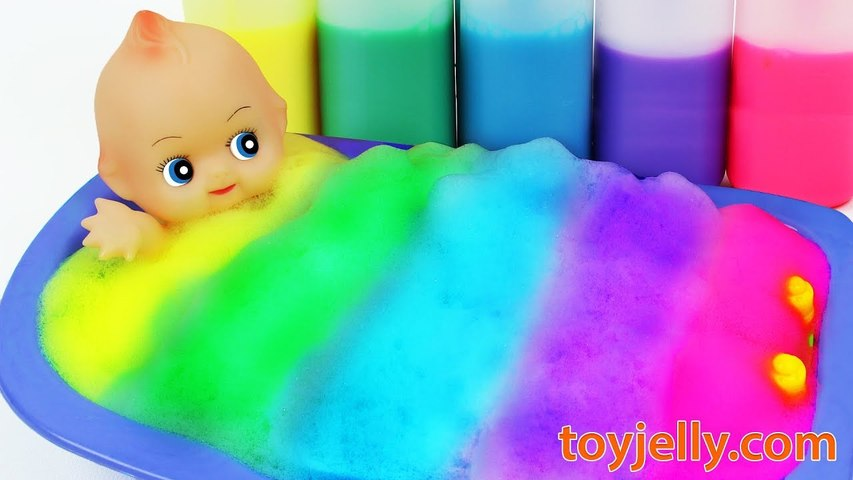 Learn Colors Suprise Eggs Body Paint Baby Doll Color Foam Bubble Bath Time Baby Finger Family Songs