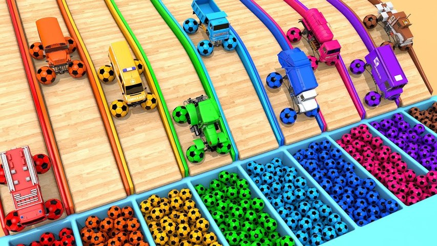 Learn Colors with Monster Street Vehicles and Assembly Surprise Soccer Ball Pretend Play for Kids