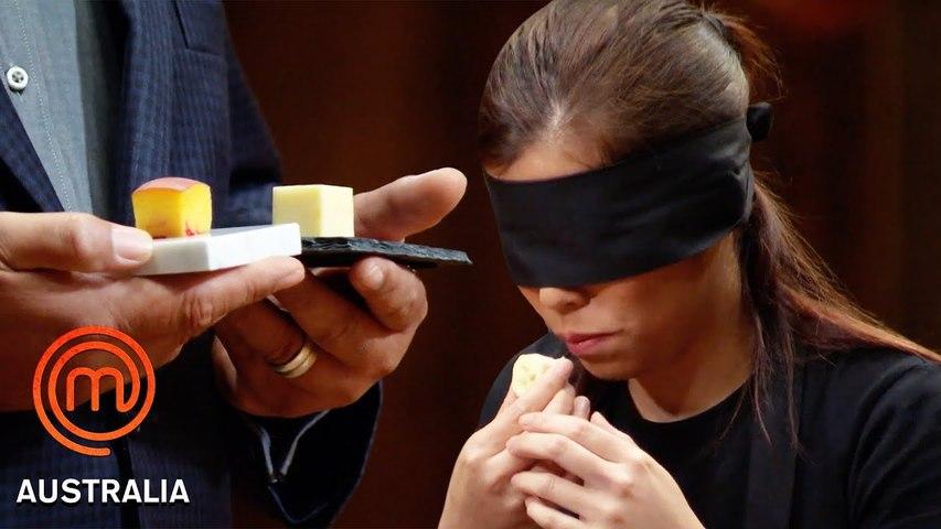 1 Inch Cube Taste Test Challenge...Blindfolded- - MasterChef Australia - MasterChef World