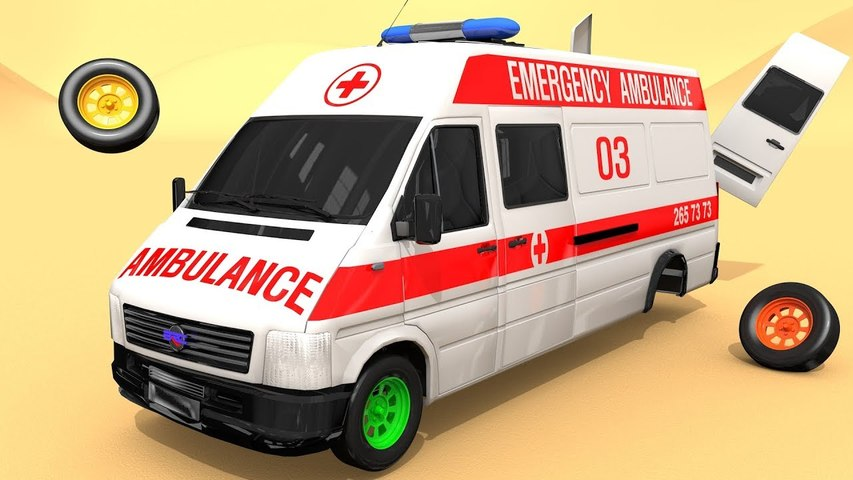 White Ambulance- Street Vehicles Toys Assembly Cars Soccer Ball with 4 Color Tires for Kids