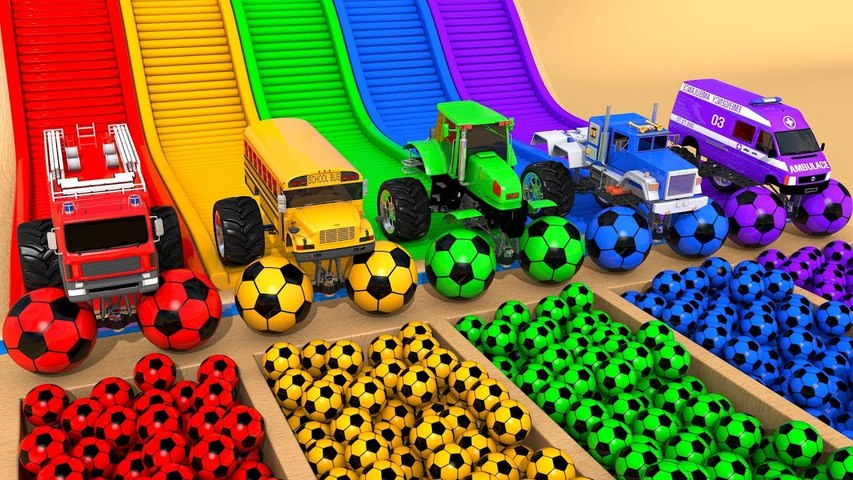 Monster Street Vehicles Assemble Toys Cars Soccer Ball Pretend Play with Learn Colors for Kids