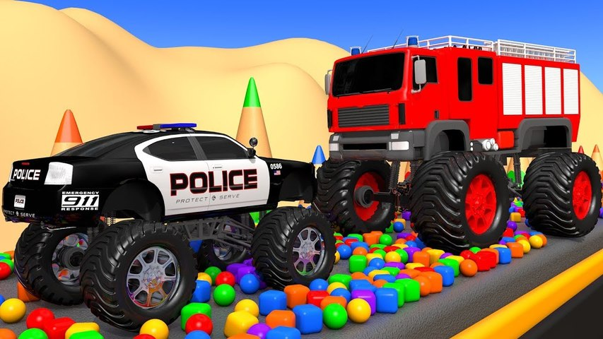Street Vehicles, Police Car, Fire Truck Soccer Ball Pretend Play with Learn Colors Toys for Kids