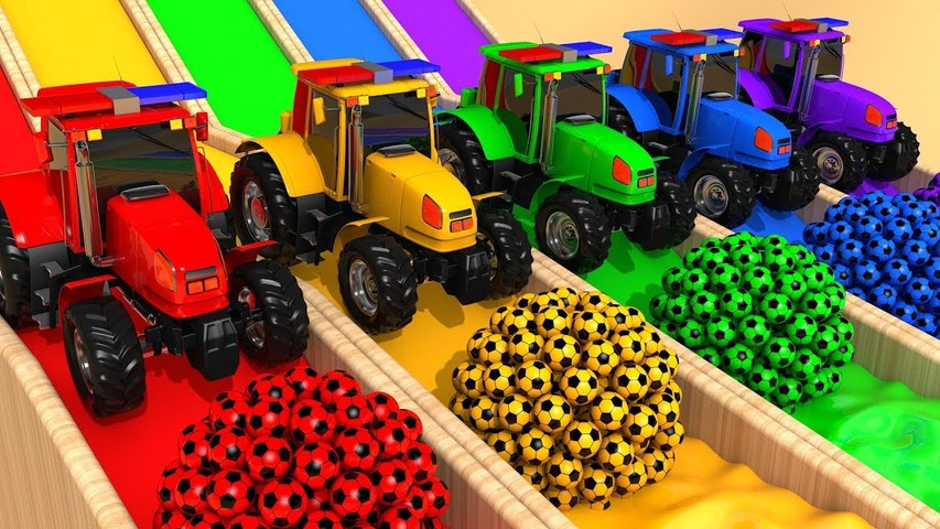 Learn Colors with Street Vehicles VS Tractors and Soccer Ball Inflatable Toy Pretend Play for Kids