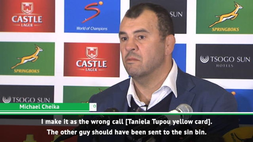 Cheika unhappy with Tupou yellow card in Wallabies defeat to South Africa