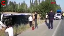 Afyonkarahisar'da yolcu otobüs devrildi