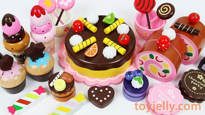 Toy Cutting Velcro Fruit Ice Cream Strawberry Custard Muffin Chocolate Sponge Cake Party Kid Playset