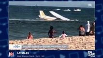 Un avion fait un amerrissage d'urgence sur une plage