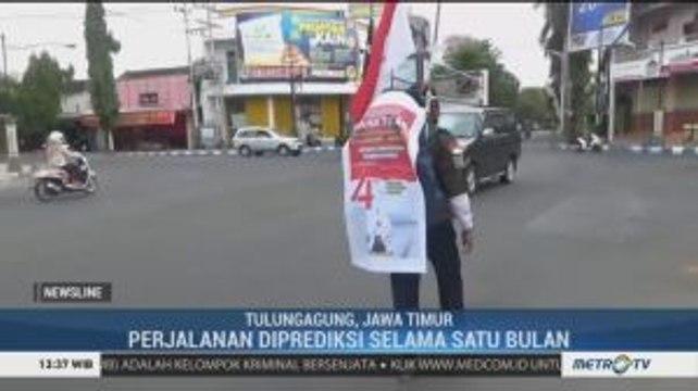Sambut HUT ke-74 RI, Seorang Warga Berjalan Mundur Tulungagung-Jakarta