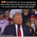 """SHAME: Trump's rally crowd just chanted """"SEND HER BACK"""" as Trump spread lies about Rep. Ilhan Omar"""
