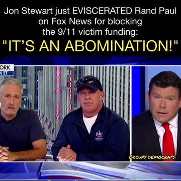 """Jon Stewart just EVISCERATED Rand Paul on Fox News for blocking the 9/11 victim funding: """"IT'S AN ABOMINATION!"""""""