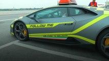 Lamborghini 'follow me' car greets planes at Bologna airport