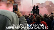 Liverpool fans hurl bottles at Manchester City coach