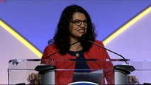"""Rep. Rashida Tlaib says """"I'm not going nowhere"""" in response to """"send her back"""""""