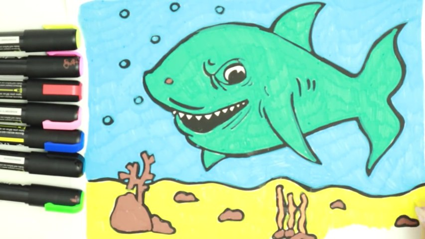 Draw and Color Baby Shark for Kids, Toddlers