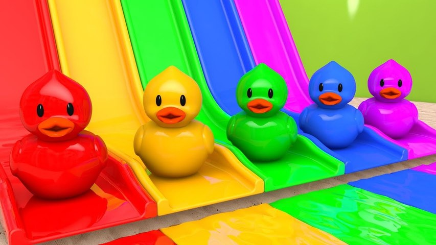 Learn Colors with Magic Slide and Toy Duck Sand Playground Pretend Play for Kids Children