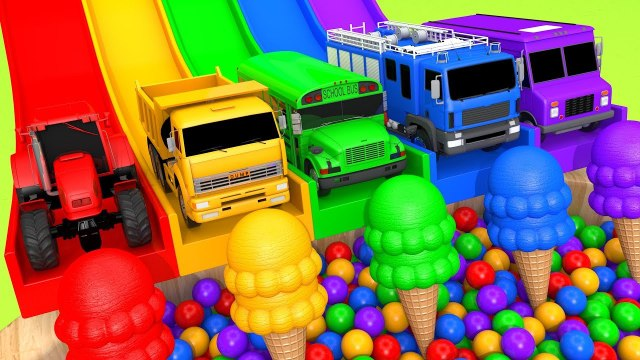 Learn Colors with Street Vehicle on Magic Slide and Rainbow Ice Cream Cone Pretend Play for Kids