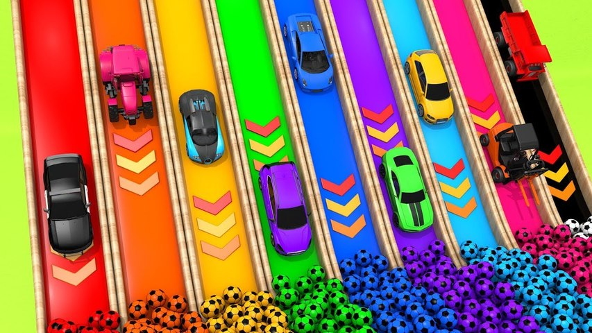 Learn Colors with Monster Street Vehicle and Painting Flying Car Pretend Play for Kids