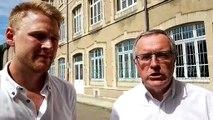 Le maire Henry Lemoine et Jonathan Richier, conseiller municipal délégué à la jeunesse évoquent l'école e-sport qui s'installera dans les locaux de l'ex-lycée Bardot place Saint-Antoine