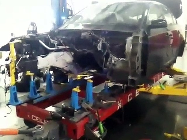 2004 BMW 530 structural repair damage Richard's bodyshop ,Chicago.On a Celette car frame machine