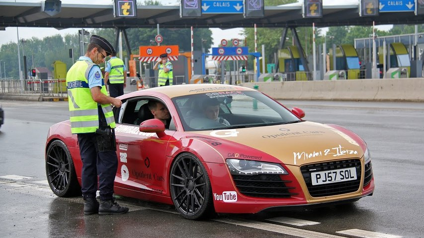 Audi R8 from Supercars of London pulled over by the French Police-