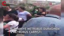 Burhaniye metrobüs durağında kaza