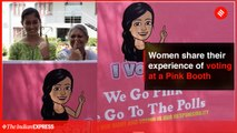 Women share their experience of voting at a Pink Booth