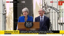 Theresa May reacts to protestor saying 'stop Brexit' during final speech
