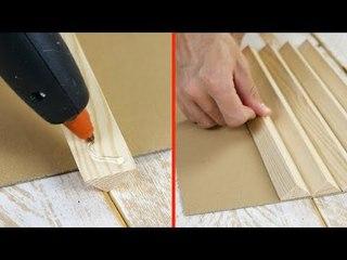 Er klebt 3-eckige Holzleisten auf Pappe. Daraus wird eine optische Täuschung, die ...