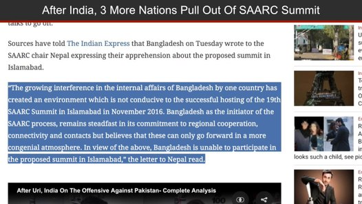 After India, Bangladesh, Bhutan, Afghanistan Boycott 19th SAARC Summit In  Islamabad