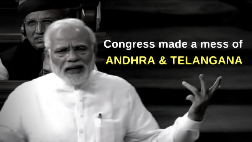 Modi says Congress' made a mess of Andhra bifurcation, just the way it did during Partition