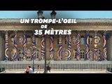 Un trompe-l'œil géant recouvre la façade du Palais Brongniart