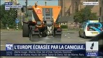 Contre la canicule aux Pays-Bas, des saleuses entrent en action pour refroidir l'asphalte des routes