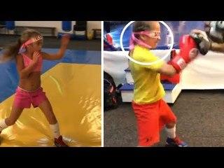 Esta menina de 10 anos é uma boxeadora prodígio.