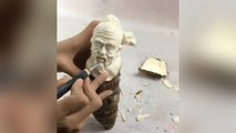 A talented Chinese artist carves impressive artworks out of food