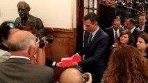La salida del hemiciclo de Pedro Sánchez tras fallar su investidura