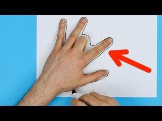 Ele encolhe o dedo do meio e desenha ao redor da sua mão. Isso é simplesmente genial!
