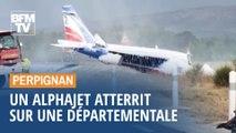 Cet Alphajet de la Patrouille de France a atterri sur une départementale