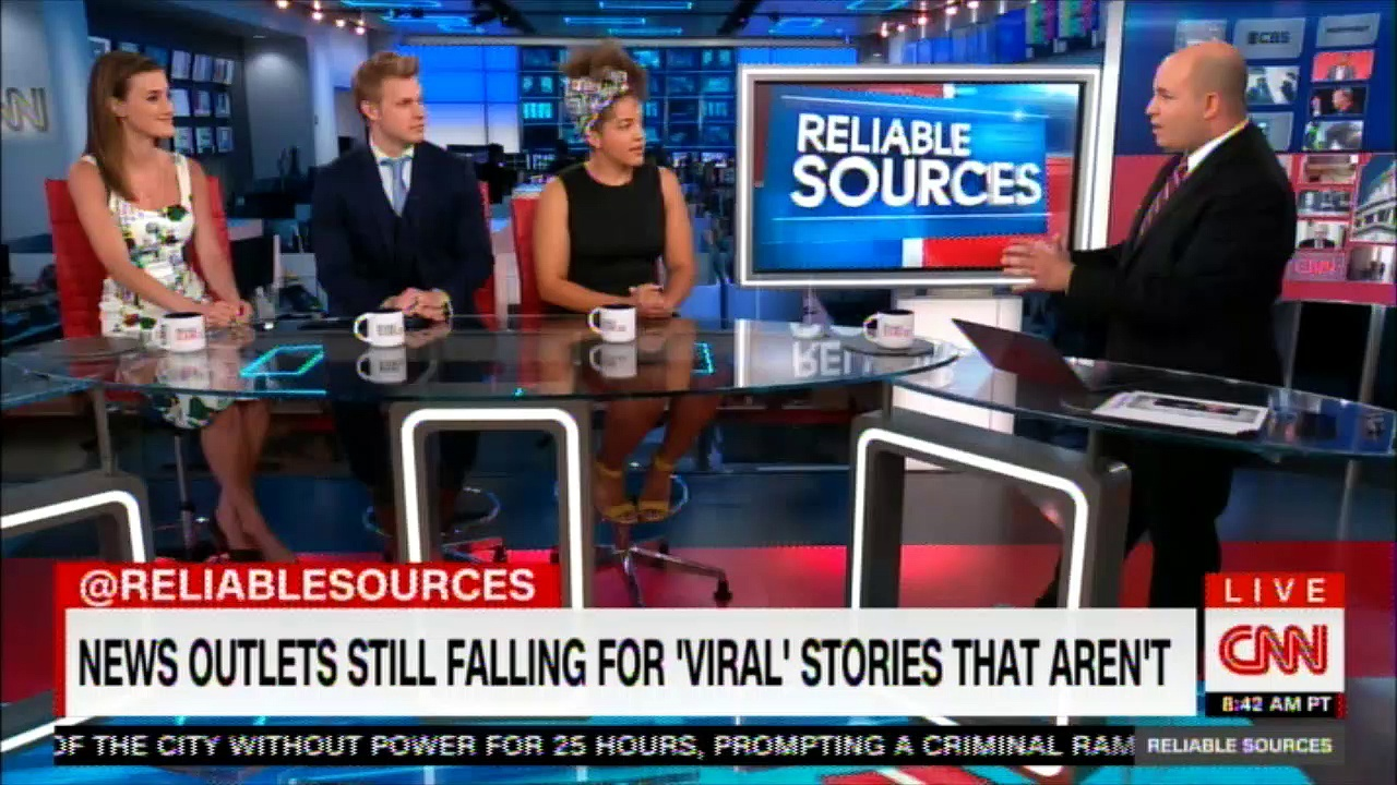 "News outlets still falling for ""VIRAL' Stories that aren't. #ReliableSources #News #Breaking"