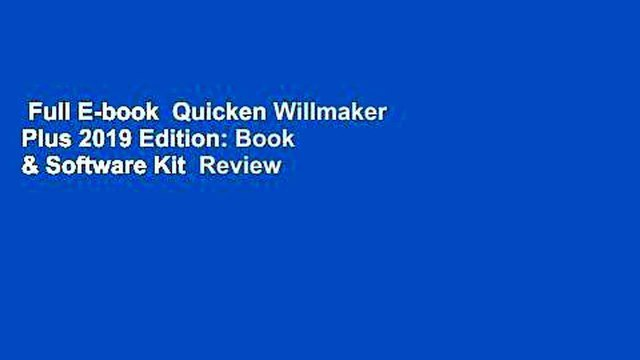 Full E-book  Quicken Willmaker Plus 2019 Edition: Book & Software Kit  Review