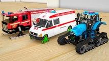 Dessin animé sur les camions. Apprendre les couleurs avec Tracteur,Tayo Bus changer de roue