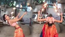 Nora Fatehi Dancing On O Saki Saki With FIRE RINGS In Hand | Stunt Video