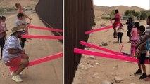 Des balançoires sur le mur de la frontière américano-mexicaine