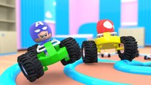 Learn Colors with  Learn Colors with Thanos Avengers Superheroes Spiderman playing Mario Kart