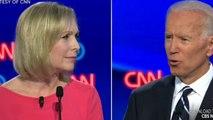 Kirsten Gillibrand questions Joe Biden on record on women's rights